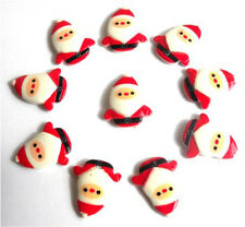 10 CHRISTMAS FATHER XMAS FLATBACK KITCH CABOCHONS RESIN DECODEN - FAST SHIPPING