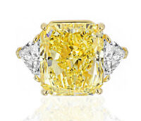 Fancy Intense Yellow GIA Certified Radiant and Trillion Shaped Diamond Engage...