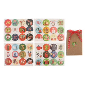 120PCS Christmas Advent Countdown Calendar Stickers Numbers Gift Bag Label Se Fb