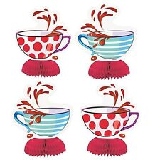 Mad Hatters Tea Party Mini Honeycomb Centrepieces Alice Tea Cup Table Decoration