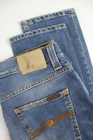 RRP £120 NUDIE GRIM TIM RAINY COMPACT Men's W33/L32 Blue Stretch Jeans 3821*mm