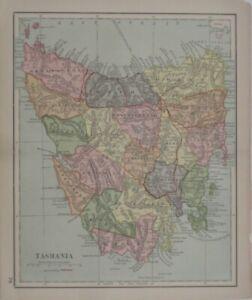 Original 1891 Pre-Federation Map TASMANIA Hobart Launceston Devonport Railroads