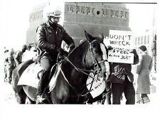1984 Original Photo Mounted Chicago Police view President Reagan Demonstration