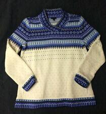 Talbots Petite Medium Nordic Fair Isle Snowflake Sweater w/ Pockets Blue/Crm