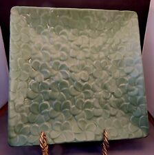 Square Green Leaf Pottery Serving Plate from Indonesia