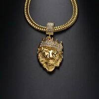 Männer Frauen Gold gefüllte Hüfte Löwenkopf Kristall Anhänger Halskette Schmuck