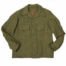 Vtg 1953 Vietnam War Olive Green Wool Heavy Field Shirt 108 U.S. Army Military