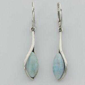 Natural, Blue Oval Dangle LARIMAR Earrings 925 STERLING SILVER - Leverback #552