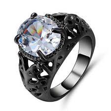 Jewelry black Rhodium Plated Women's White Sapphire Size 6 Anniversary Ring Gift