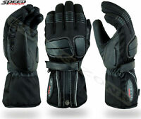 BLACK THERMAL MENS MOTORBIKE / MOTORCYCLE / MOTOCROSS TEXTILE & LEATHER GLOVES