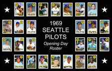 1969 Seattle Pilots Opening Day Baseball Card Poster 17x11 Unique Art Decor Vtg