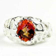 925 Sterling Silver Men's Nugget Ring, Twilight Fire Topaz, SR168
