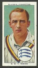 PLAYER'S 1938 CRICKETERS R.W.V. Robins Card No 22 of 50 CRICKET CIGARETTE CARDS