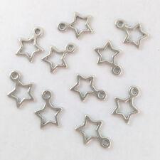 LOT de 18 PENDENTIFS perles breloque ETOILES STAR ARGENTE 14x11mm création bijou