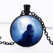 Cat and Full Moon Black Glass Cabochon Necklace chain Pendant Wholesale