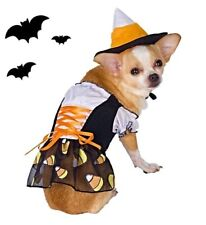 Candy Corn Witch Dog Halloween Costume Fancy Dress Hat Pet Outfit sz Small S NEW