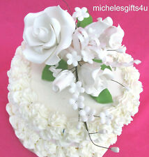 FREE SHIPPING Gum Paste Sugar White Roses Rosebuds Leaves Cake Flower Spray