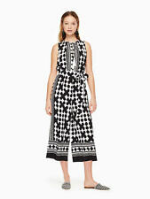 NWT kate spade new york lantern silk jumpsuit black/white Women's S $428