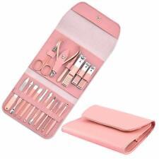 16 Piece Manicure Pedicure Nail Care Set Cutter Cuticle Clippers Kit w Case Pink