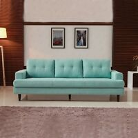Chic Lake Blue Loveseat 2 Seater Sofa Lounge Chaise Couch Living Room Furniture
