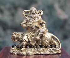 8 CM China Folk belief Brass God of Wealth Tiger Mammon fortune Fengshui Statue
