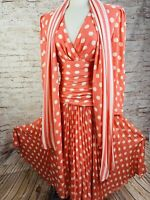 Vintage 90's Pink Polka Dot Maxi Dress Accordion Pleats Full Sweep Silk Sz 8