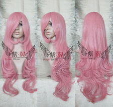 2017 new hot sell ~80cm Pink wavy girl woman, Cosplay Party Wig + Wig cap