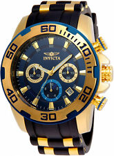 Invicta Men's Pro Diver Chrono Gold Plated S. Steel Black Silicone Watch 22341