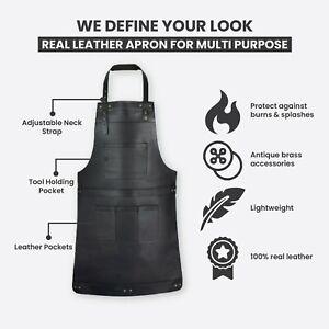 Black Real Leather Apron Butcher Apron - Cook Apron - BBQ Apron - Cooking Apron