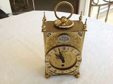 "Vintage Tempus Fugit "" Time Flies"" Brass Mantle Bed Side Clock Roman Numerals"