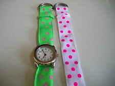 SET OF 2 RIBBONS/ SILVER FINISH  WATCH FACE FOR BEADING,RIBBON OR OTHER USE