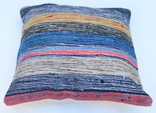 16''x16'' Vintage Handwoven Multi Color Wool Turkish Kilim Pillow Cover 40x40 cm