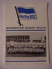 Hertha BSC Presse Information 1975 1976 Buch Heft