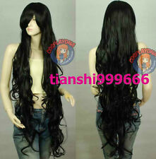 NEW Black Sexy Extra Long Wavy Cosplay Wig 100cm   H280