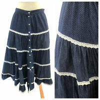 Vintage VTG 1970s 70s Gunne Sax Blue Floral Patterned Tiered Skirt