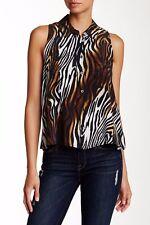 Equipment Femme Mina Sleeveles Button Silk Shirt Animal Print Blouse XS 3564a3477
