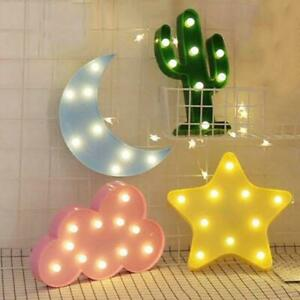Cute Cloud Star Moon Cactus LED 3D Night Light Kid Child Bedroom Wall Decor Lamp