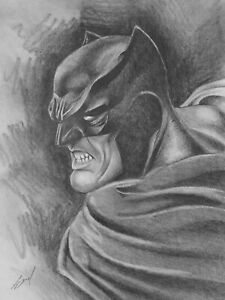 BATMAN Pencil Drawing Original Signed Picture Art DC Handmade Traditional
