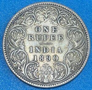 1890 British India 1 Rupee Victoria 0.917 Silver Coin