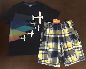NWT Gymboree Boy Cape Cool navy Airplane Tee & Plaid Shorts Outfit 5/5T