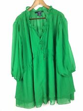 24W Denim 24/7 Emerald Green Chiffon 3/4 Sleeve Empire Blouse Top Semi-Sheer