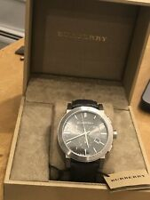 100% Burberry BU9362 Grey Dial Black Leather Strap Chronograph Men's Watch Used