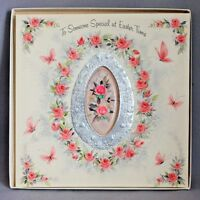 "Vintage 1950s HALLMARK Roses EASTER CARD ORIG BOX Huge GREETING 8""x8"""