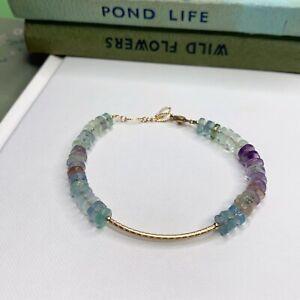 Fluorite Gemstone 14K Gold Filled Handmade Sundance Garden Bracelet