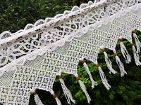 Victorian Chic White Vintage Battenburg Lace Crochet Lace Window Curtain Valance