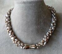 17-19 inches 3 Reihen 6-8 mm weiß Muschel Perle Choker Halskette