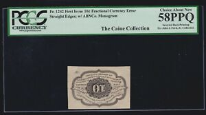 US 10c Fractional Currency Note INVERTED BACK ERROR FR 1242 PCGS 58 PPQ (01)