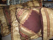 Croscill Townhouse Burgundy Green Gold (4Pc) King Pillow Shams & Pillows