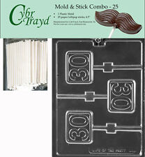 Cybrtrayd 60 Lolly Letters and Numbers Chocolate Candy Mold with 50 4.5-Inch Lollipop Sticks and Chocolatiers Guide