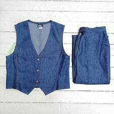 Vintage Women's KORET CITY BLUES Blue Denim Vest & Jeans Set Size 10 (NWT)